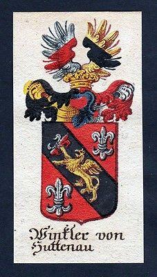 18. Jh - Winkler von Huttenau Böhmen Wappen coat of arms Manuskript