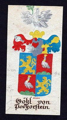 18. Jh Göhl Podhorstein Böhmen Manuskript Wappen Adel coat of arms heraldry