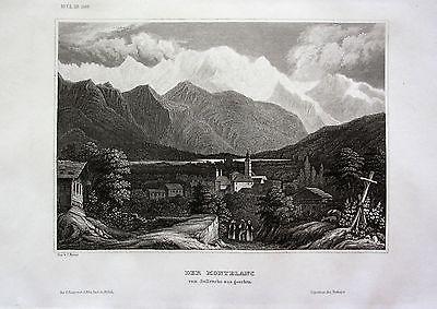 1840 - Mont Blanc Berg Gebirge Sallenche Schweiz Switzerland Suisse Stahlstich