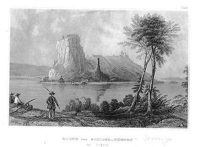 1840 - Ruine von Schloss-Theben in Ungarn Hungary Original Stahlstich engraving