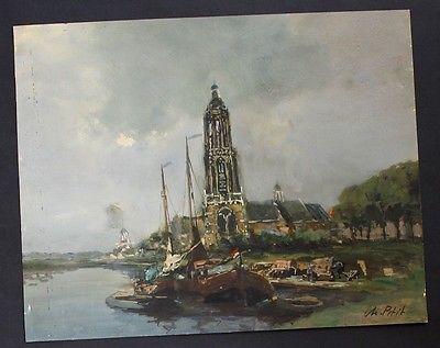 M. Petit signiert Original Aquarell Hafen Schiff