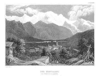 1840 - Der Montblanc Alpen von Sallenche aus Original Stahlstich engraving