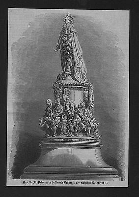 1865 - St. Petersburg Kaiserin Katharina II Denkmal Holzstich wood engraving