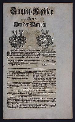1720 - von der Marthen Utzberg Nohra Thüringen Ahnentafel Stammbaum Genealogie