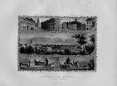 1840 - Morges Kanton Waadt Canton Vaud Souvenir Blatt Stahlstich Schweiz