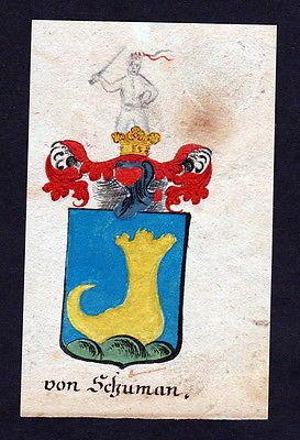 18. Jh von Schuman Böhmen Manuskript Wappen Adel coat of arms heraldry Heraldik