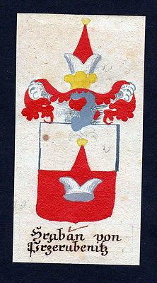 18. Jh Hraban Prerubenice Böhmen Manuskript Wappen Adel coat of arms heraldry
