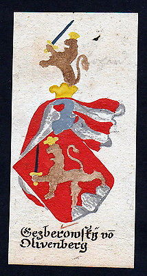 18 Jh Gezberowsky Olivenberg Böhmen Manuskript Wappen Adel coat of arms heraldry