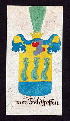 18. Jh von Feldhoffen Böhmen Manuskript Wappen Adel coat of arms heraldry