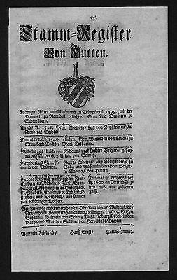 1720 Hutten Harraß Stammbaum Ahnentafel family tree Wappen coat of arms