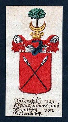 18. Jh - Wienitzky von Kotendorf Böhmen Wappen coat of arms Manuskript