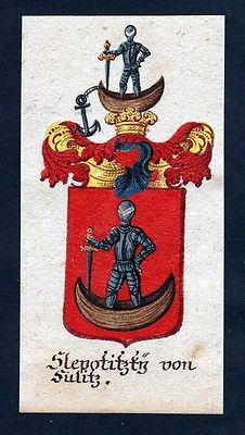 18. Jh - Slepotitzky von Sulitz Böhmen Wappen coat of arms Manuskript