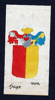 18. Jh von Hage Böhmen Manuskript Wappen Adel coat of arms heraldry Heraldik
