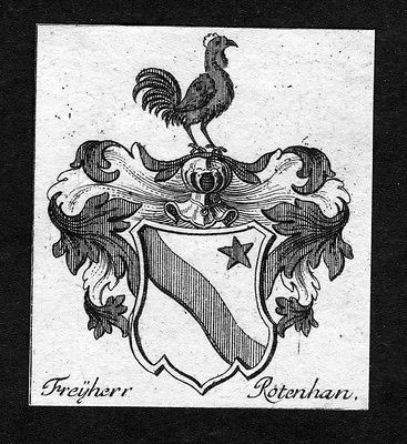 1750 - Rotenhan Rottenhan Wappen Adel coat of arms heraldry Heraldik Kupferstich