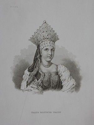 1850 - Galizien Galitische Tracht Urkaine Russland engraving Stahlstich Portrait
