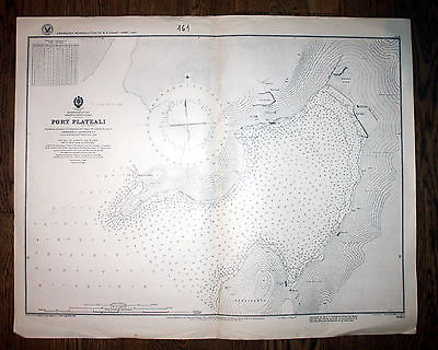 1921 Mediterranean Sea Greece Port Plateali Greece Griechenland map Karte Plan