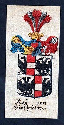 18. Jh - Key von Hirschfeld Böhmen Wappen coat of arms Manuskript