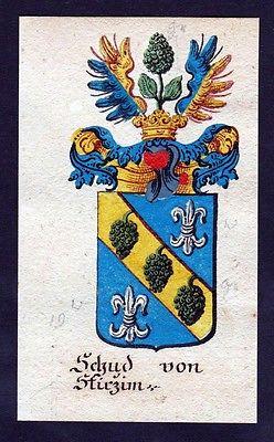 18. Jh - Schud von Stirzim Böhmen Wappen coat of arms Manuskript