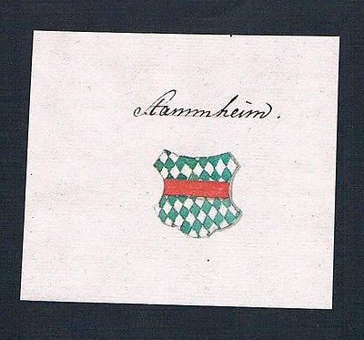 18. Jh. Stammheim Handschrift Manuskript Wappen manuscript coat of arms