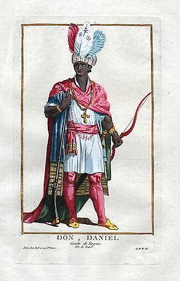 1779 Don Daniel Graf count Sogno Portrait costumes antique print Duflos