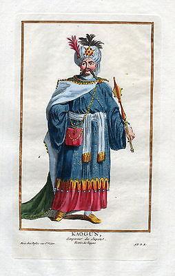 1779 Kaogun Japan Nippon emperor Portrait costumes antique print Duflos