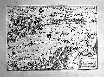 1680 Mariembourg Belgique carte map gravure Kupferstich engraving Beaulieu