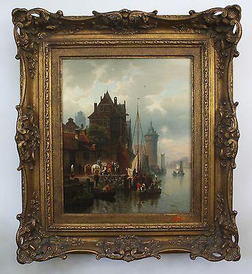 Hermann Meyerheim / Berlin - Gemälde Öl Leinwand Rotterdam Hafen painting 0