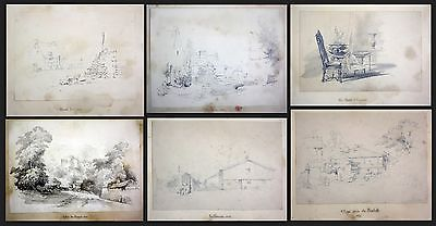 1841 Auguste Caron 1806 - sketch book 46 original drawings dessins signed signee 0
