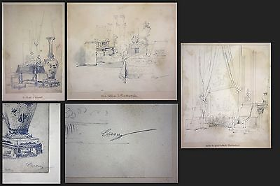 1841 Auguste Caron 1806 - sketch book 46 original drawings dessins signed signee 1