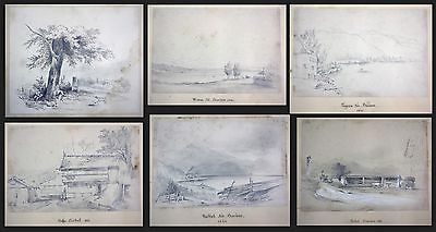 1841 Auguste Caron 1806 - sketch book 46 original drawings dessins signed signee 2