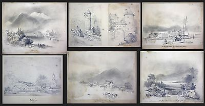 1841 Auguste Caron 1806 - sketch book 46 original drawings dessins signed signee 3