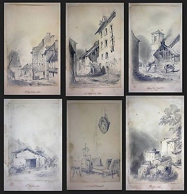 1841 Auguste Caron 1806 - sketch book 46 original drawings dessins signed signee 5
