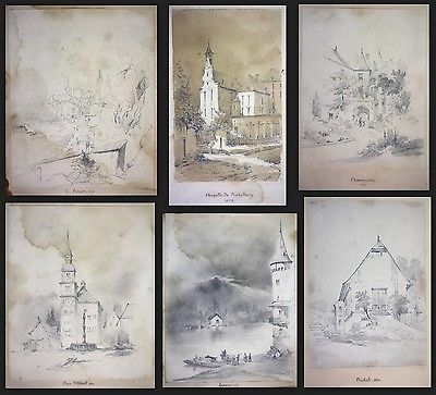 1841 Auguste Caron 1806 - sketch book 46 original drawings dessins signed signee 6