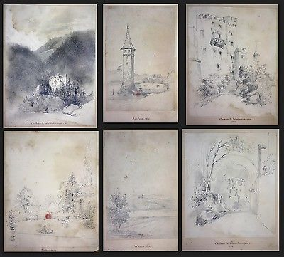 1841 Auguste Caron 1806 - sketch book 46 original drawings dessins signed signee 7
