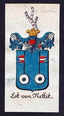 18. Jh - Lot von Kettik Böhmen Wappen coat of arms Manuskript