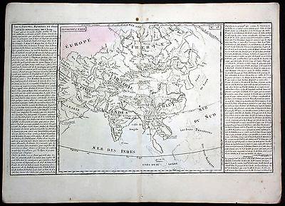 Ca 1780 Asia Asien lake China Korea Japan map Clouet antique print Kupferstich
