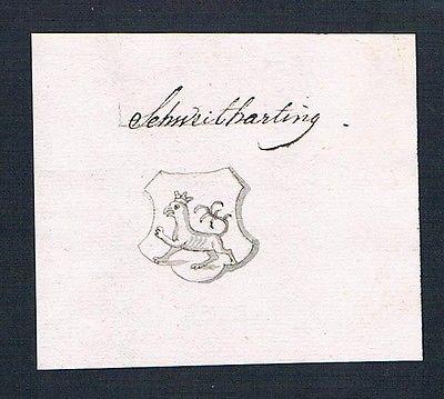 18. Jh. Schweitharting Handschrift Manuskript Wappen manuscript coat of arms