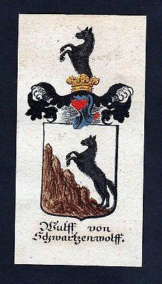 18. Jh - Wulff von Schwartzenwolf Böhmen Wappen coat of arms Manuskript