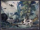 1820 Adam Eva Paradies paradise Lithographie altkoloriert Biedermeier