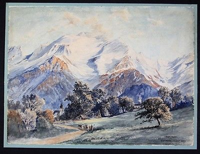 1907 Carl Just Montblanc Mont Blanc Aquarell signiert drawing painting Monte 0