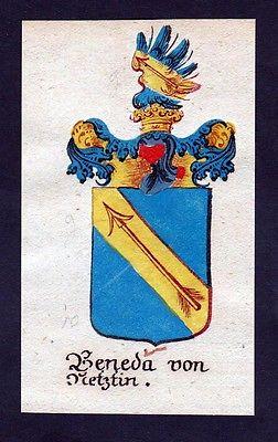 18. Jh - Beneda von Netztin Böhmen Wappen coat of arms Manuskript