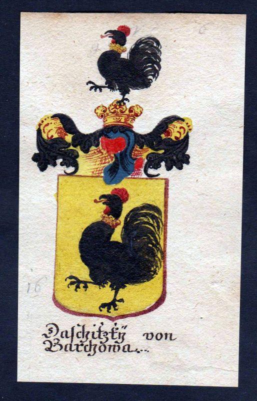 18. Jh - Daschitzky von Barchowa Böhmen Wappen coat of arms Manuskript