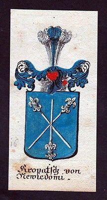 18. Jh - Kropatsch von Mewiedomi Böhmen Wappen coat of arms Manuskript