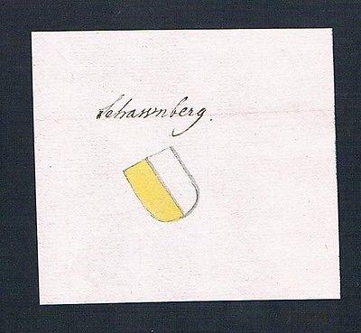 18. Jh. Schwanberg Bayern Manuskript Handschrift Wappen manuscript coat of arms