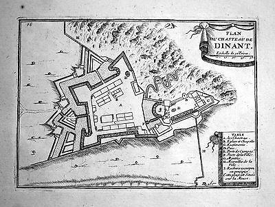 1680 Dinant Chateau Belgique carte map gravure Kupferstich engraving Beaulieu