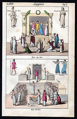 1830 - Egypt Iris fest festival people costumes handcolored litho antique print