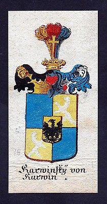 18. Jh - Karwinsky von Karwin Böhmen Wappen coat of arms Manuskript