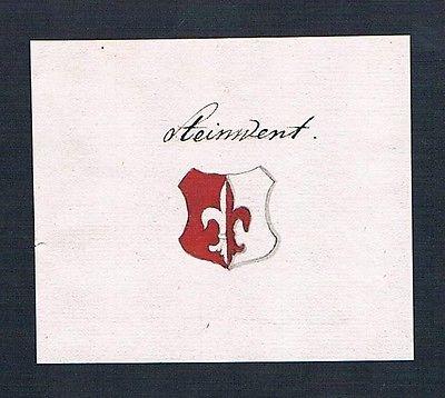 18. Jh. Steinwent Handschrift Manuskript Wappen manuscript coat of arms