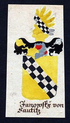 18. Jh Fanowsky von Sautice Böhmen Manuskript Wappen Adel coat of arms heraldry