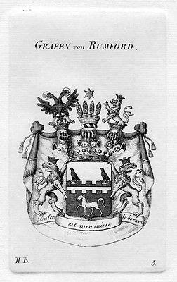 1820 - Rumford Wappen Adel coat of arms heraldry Heraldik Kupferstich